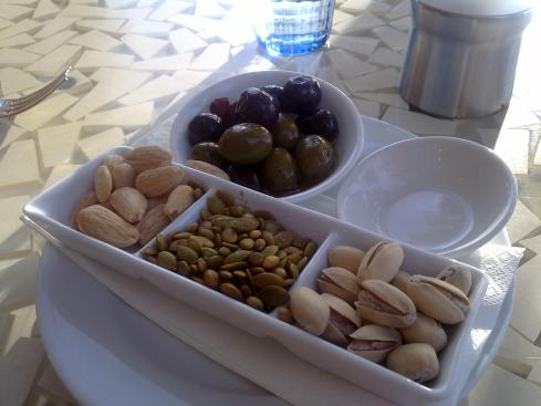 Olives, giant almonds, spiced  pepitas, pistacios